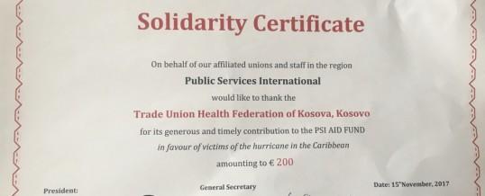 FSSHK pranon mirënjohje për Solidaritet nga PSI